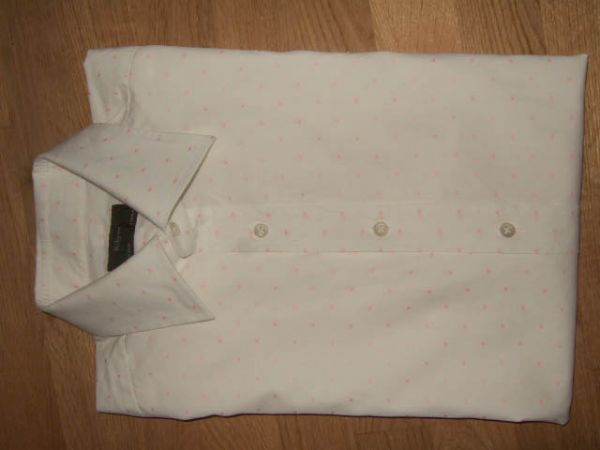 KILGOUR Savile Row Single 3 Button Cuff White Pink Spot Shirt 16 41 34